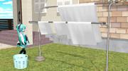【MMD】たなびく洗濯物(物理入り布)【MMDアクセサリ配布あり】
