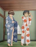 浴衣を着る名取ちゃんと長良ちゃん♪