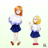 i スカートのようなものを上に着ている二人組 i