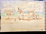 砂浜で遊ぶナリタタイシン