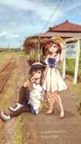 お嬢さんズの列車待ち