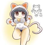 猫パーカーの女の子