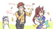 謎ダンスする沖野Tとテイオー。