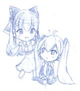 霊夢×ミク「取り替えっこしましょ!」(GIFアニメ)