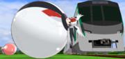 電車とラテックスボールのくらべっこ