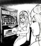 姉に変装してカジノで遊んでいるのがばれたミネア