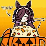【GIFアニメ】超特盛りハロウィンライスを食べるハロウィンライス