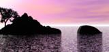 夕焼けの無人島