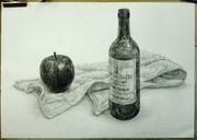 ワイン瓶 リンゴ タオル  デッサン