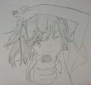 御坂美琴を鉛筆一本で描いてみた^^