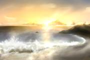 とある日出の浜辺風景(未完成)