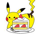 ショートケーキとピカチュウ