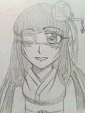 和服姿の眼帯少女【オリジナルキャラ】