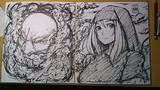 一輪と雲山(色紙)