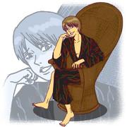 寂しげな笑みを浮かべて頬杖をつく和服を着た沖田総悟