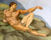 「アダムの創造」部分模写