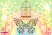 コラージュタイトル『蝶々』パステルカラー