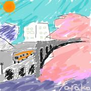 桜と聖橋と中央線