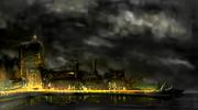 夜の街、小雨の今宵