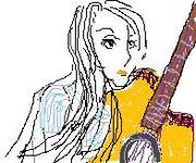 長い髪の、弾き語りの女性