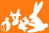 ○を変形させてウサギ(白抜き)