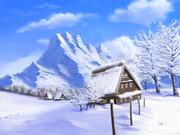 フリー素材――冬の合掌造り