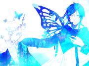 右肩に青色蝶々