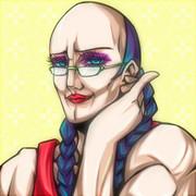 辮髪+メガネ+筋肉質なオカマちゃんの図