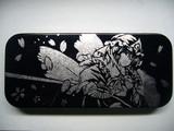 【筆箱】 西行寺幽々子を筆箱に彫ってみた