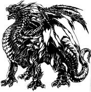 ブラックドラゴン切り絵