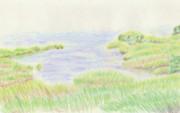 【色鉛筆画】河原にて