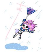 台風にもてあそばれるmikiちゃん描いてみた
