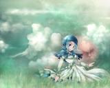 雲の湧く草原