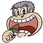 ガリガリ君がスイカバーを食べる貴重なシーン