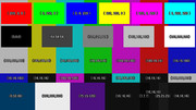 色空間テスト用カラーバーその2(色値つき)フルHDサイズ(1920x1080)