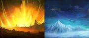 火山と氷山の対比