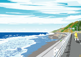 風吹く海岸道路
