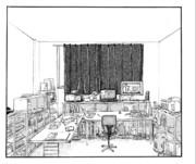 パース ペン画 001 「自室のようなもの」 No.34
