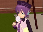 デフォ子さんに渦巻きキャンディを持たせてみた