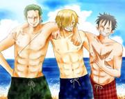 3強の海水浴
