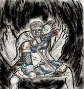 青くて、剣をいっぱい持ってて、治癒能力高い人
