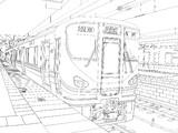 225系をなんとなく描いてみた【線画】