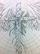 ボールペンで十字架と羽根