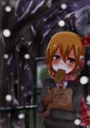 雪降っててもたい焼きは歩きながらでも食べる