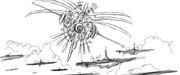 空の守護神と対面する捕獲艦隊(アイデアスケッチ)