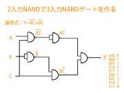 2入力のNANDゲートで3入力のNANDゲートを作る
