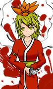 【Twitter】寂しげな笑みを浮かべてナイフをかまえる浴衣を着た寅丸星