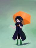 レインコートに雨