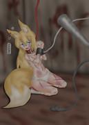 腱を切られて抵抗出来ない奴隷の狐。
