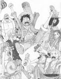 ONE PIECE の「麦わら海賊団」描いてみた